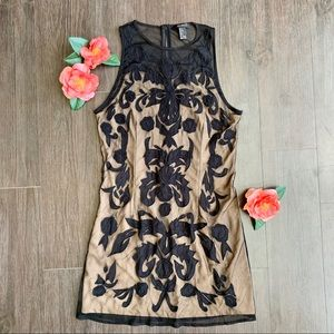 Forever 21 Illusion Appliqué Dress in Black/Beige
